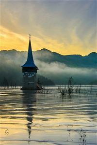 Flooded Church at Dawn iPhone 4s wallpaper