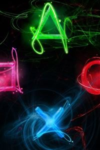 Neon Play Station Buttons iPhone 4s wallpaper