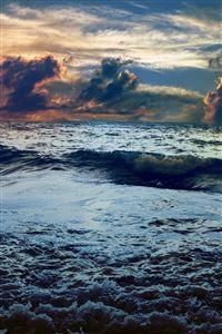 Sea Waves Landscape iPhone 4s wallpaper