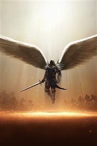 Archangel Tyrael Diablo III PC iPhone 4s wallpaper