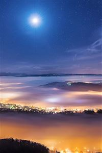Foggy Town Under The Stars iPhone 4s wallpaper