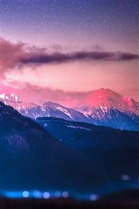 Snowy Mountain Range Stars Tilt Shift iPhone wallpaper