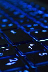 Blue Neon Illuminated Computer Keyboard iPhone wallpaper