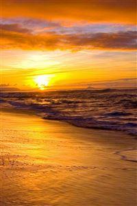 Nature Golden Beach Sunset Landcape iPhone 4s wallpaper