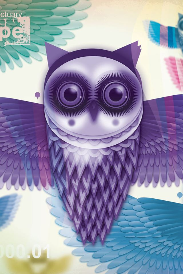 Art Owl iPhone 4s wallpaper