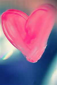 Pure Pink Love Heart  Drawn On Glass Window iPhone 4s wallpaper