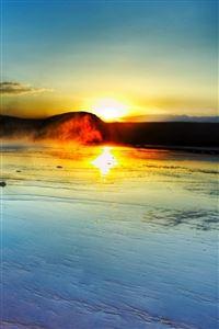 Nature Spectacular Seaside Beach Rock Sunrise Landscape iPhone 4s wallpaper