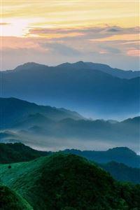 Nature Mist Mountains Hill Sky Landscape iPhone 4s wallpaper