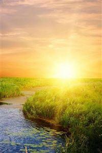 Nature Sunrise Bright Lake Field Landscape iPhone 4s wallpaper