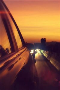 Drive Way Sunset City Highway Car Flare iPhone wallpaper
