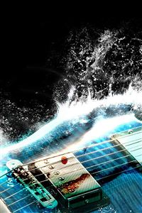 Guitar Wave Illust Art Blue iPhone 4s wallpaper