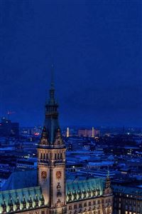 Christmas Blue Night Winter City iPhone 4s wallpaper