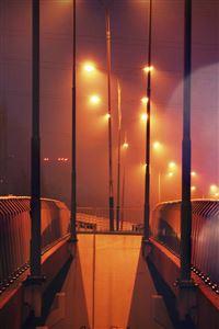 Night Bridge City View Lights Street Orange Flare iPhone 4s wallpaper