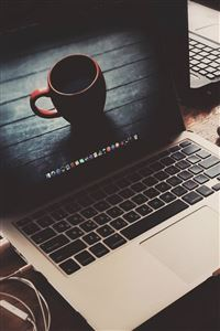 Macbook Coffee Cup Desk Elegant iPhone 4s wallpaper