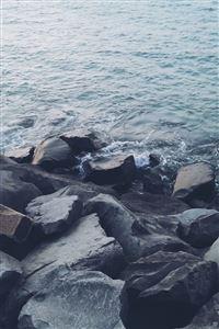 Nature Shore Rocky Stone Seaside iPhone 4s wallpaper