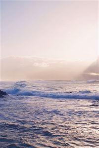 Sea Ocean Rock Nature Wave Sky iPhone 4s wallpaper