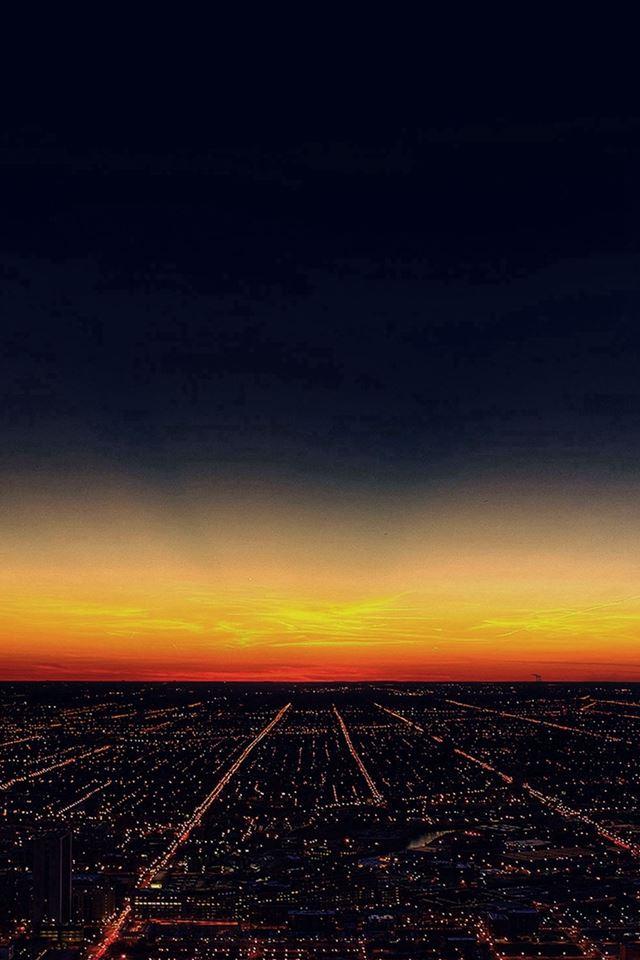 Night Sky Flying Sunset City IPhone 4s Wallpaper