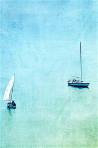 Sea Boat Lake Blue Day Fun Nature Art iPhone 4s wallpaper