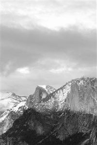 Dark Grayscale Mountains Forest Landscape iPhone 4s wallpaper