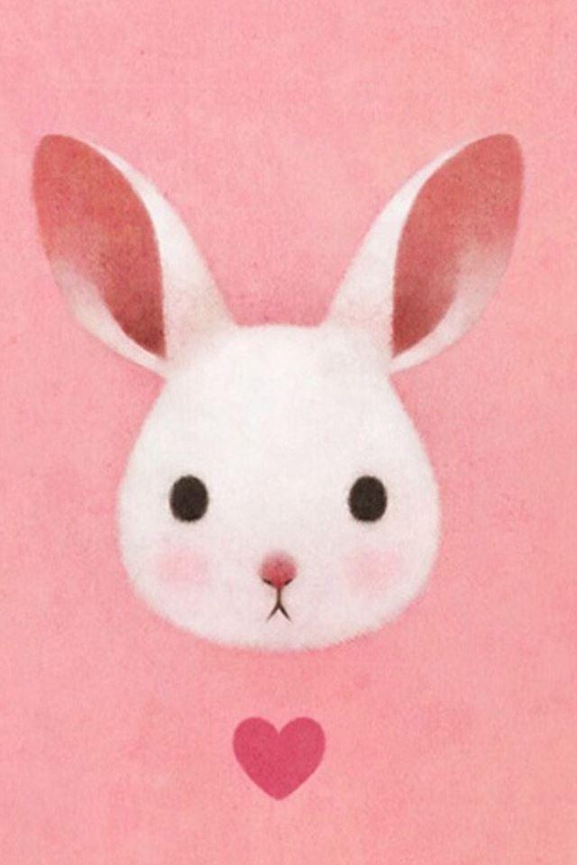 Cute Lovely Pink Rabbit Drawing Art iPhone 4s wallpaper