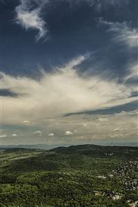 Mountain Green Wood City Sky Cloud Blue Summer iPhone 4s wallpaper
