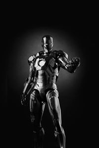 Ironman Dark Figure Hero Art Avengers Bw iPhone 4s wallpaper