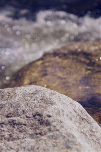 Water Rocks River Nature Bokeh Flare iPhone 4s wallpaper
