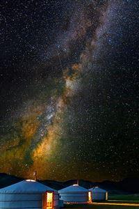 Mongolian Yurt Camp Milky Way Stars iPhone 4s wallpaper