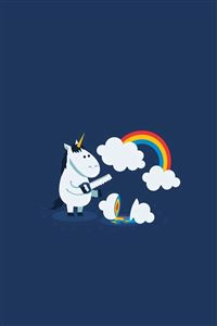 Unicorn Saw Clouds Rainbow Funny  iPhone 4s wallpaper