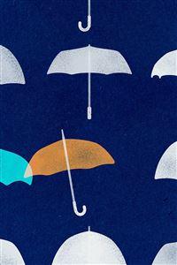 Blue Umbrella Cute Minimal Art Disney iPhone 4s wallpaper