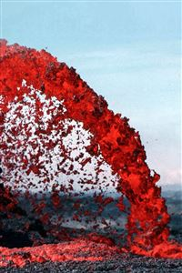 Lava Volcanic Magma Red Nature Fire Danger Mountain iPhone 4s wallpaper