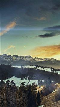 Fall Mountain Nature Sky Flare Sun iPhone 4s wallpaper