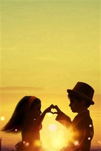 Sunset Love Cute Kids Couple Sunlight Flowers Field iPhone 4s wallpaper