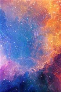 Space Aurora Art Star Illust Rainbow iPhone 4s wallpaper
