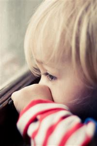 Naive Cute Little Boy Watching Window  iPhone 4s wallpaper