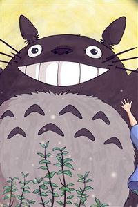 Totoro Forest Anime Cute Illustration Art Blue iPhone 4s wallpaper