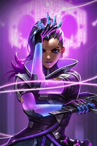 Overwatch Sombra Purple Game Hero Illustration Art iPhone 4s wallpaper