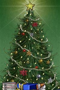 Christmas Pine Tree Around Gifts iPhone 4s wallpaper