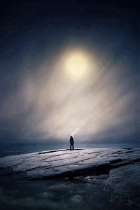 Moonlight Night Dark Soft Illustration Art iPhone 4s wallpaper