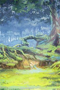 Anime Nature Forest Grove Illustration Art iPhone 4s wallpaper
