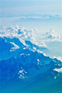 Mountain Snow Winter Blue White Nature Cloud iPhone 4s wallpaper