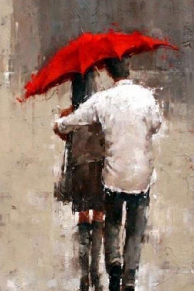 Rainy Romantic Lover Couple Back Art iPhone 4s wallpaper