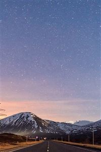 Sky Star Lovely Road Street Mountain Winter Nature iPhone 4s wallpaper
