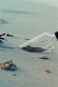 Pure Simple Beach Wish Bottle Landscape iPhone 4s wallpaper