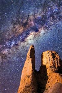 Space Star Night Mountain Nature iPhone 4s wallpaper
