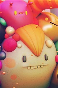 Cute Monster Character 3D Illustration Art iPhone 4s wallpaper