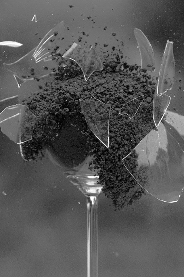 Glass Breaking Nature Art Dark Bw iPhone 4s wallpaper