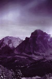 Night Sky Mountain Snow Winter Aurora Purple iPhone 4s wallpaper