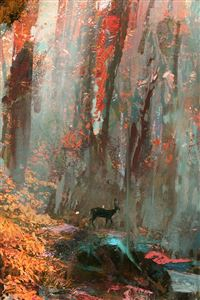 Rain Deer Forest Illustration Art iPhone 4s wallpaper