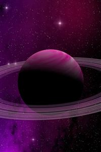 Space Planet Saturn Star Art Illustration Purple iPhone 4s wallpaper
